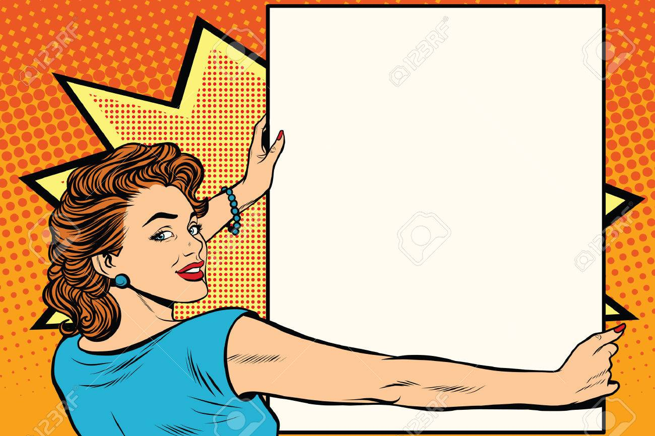 Pop art woman holding a poster retro vector illustration. copy space for the announcement and advertising - 60083832