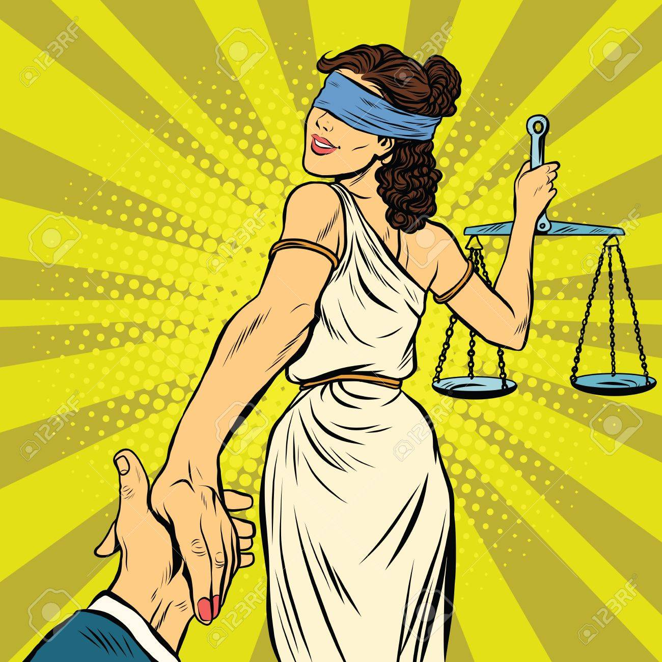 follow me, Themis leads to court, pop art retro vector illustration. Justice and law - 60586614
