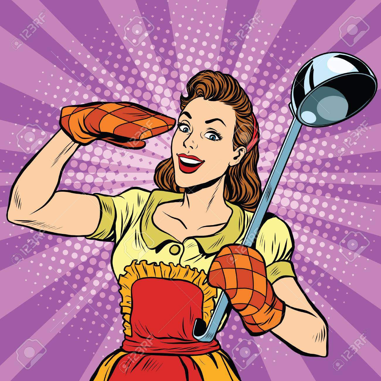 Retro housewife in kitchen, pop art vector illustration. Cooking and food - 60586706