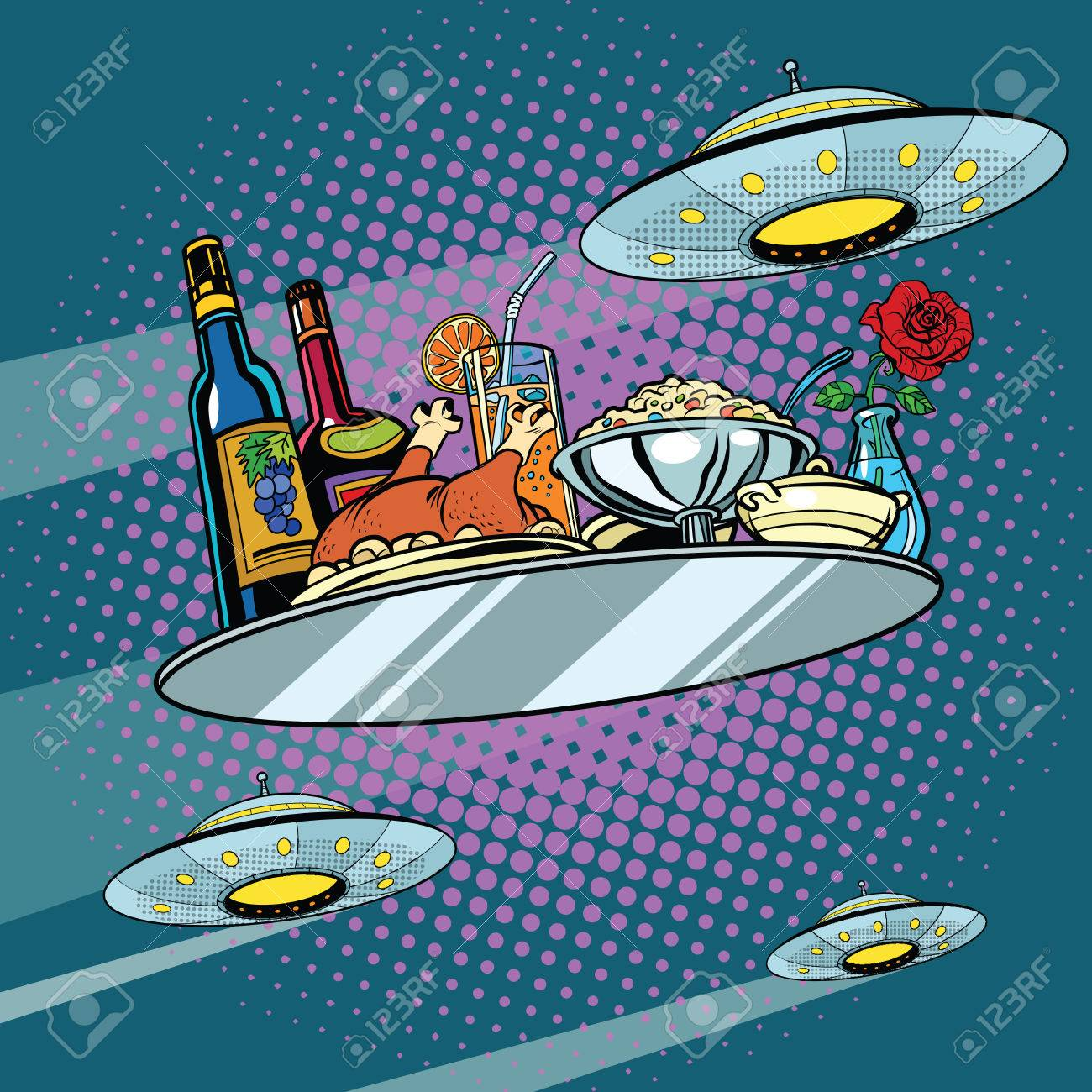 Flying a dinner tray and UFO, pop art retro vector illustration. Delicious food. Science fiction - 64068274