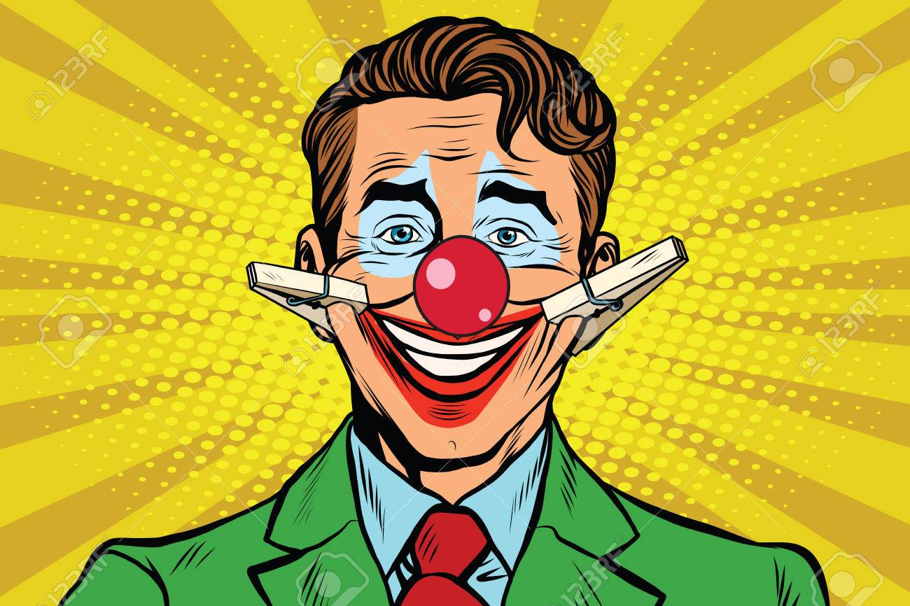 Clown face smile with clothespins, pop art retro vector illustration - 62774879
