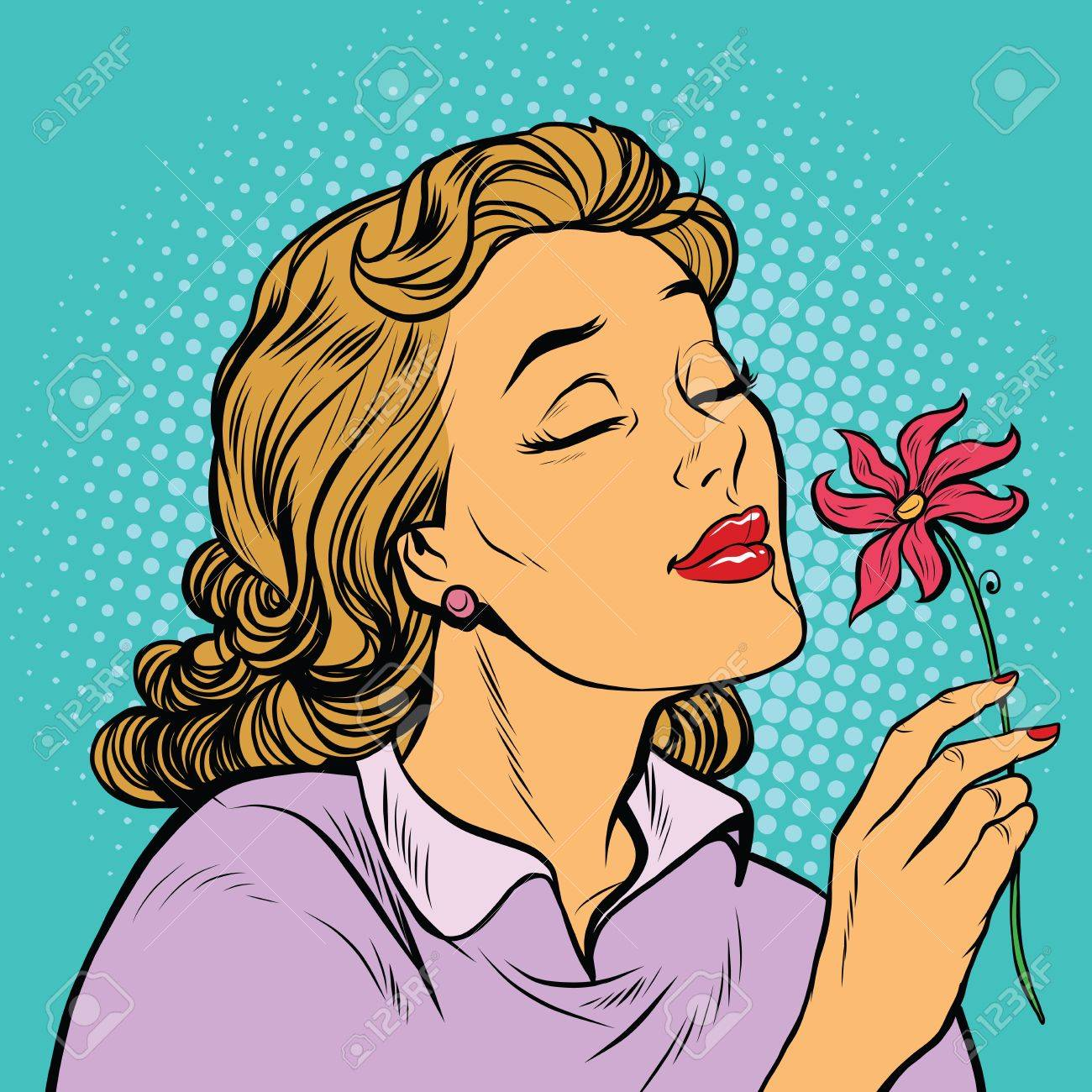 Beautiful Woman Inhaling Fragrance Of A Flower Pop Art Retro Royalty Free Cliparts Vectors And Stock Illustration Image 63634874