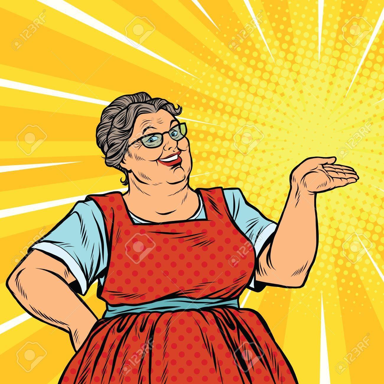 Joyful woman grandma promoter, pop art retro vector illustration. Old sweet woman advertises - 64068551