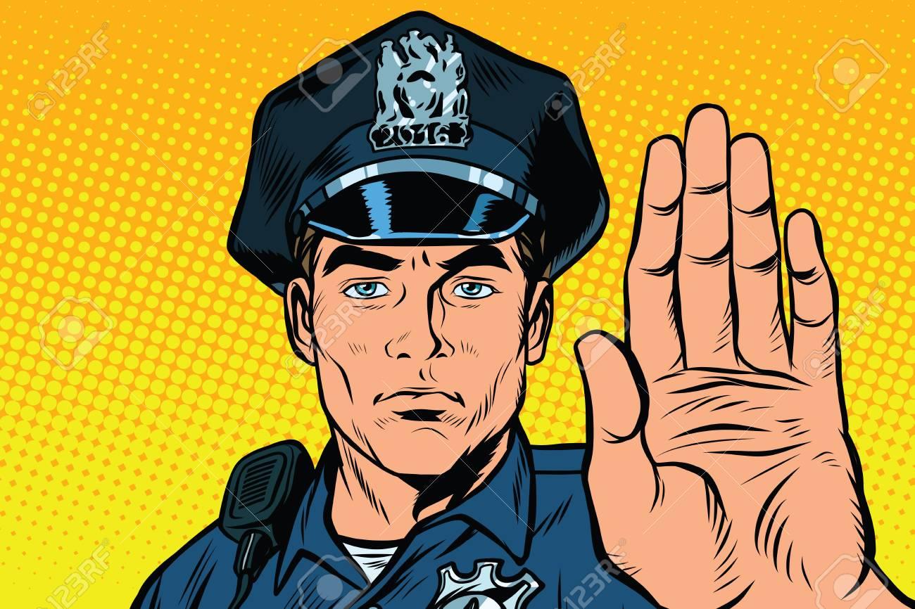 retro police officer stop gesture pop art retro illustration