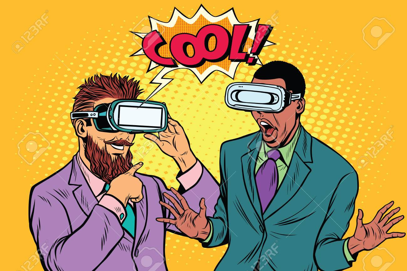 Bearded hipster and African American cool emotions in VR glasses - 77096269