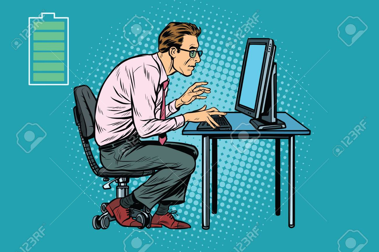 Lavoro In Ufficio Vignette : Energia per il lavoro ufficio uomo d affari caucasico al computer