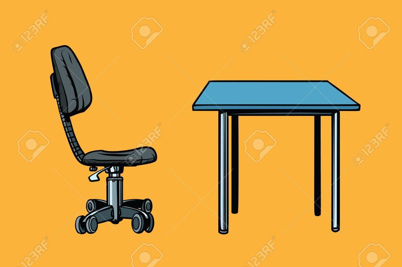 Chaise Et Table De Bureau Pop Art Rtro Illustration Vectorielle