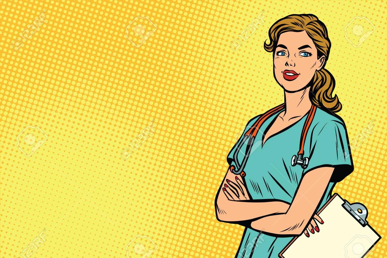 Beautiful Caucasian nurse with stethoscope. Medicine and health care. Pop art retro vector illustration - 81041414