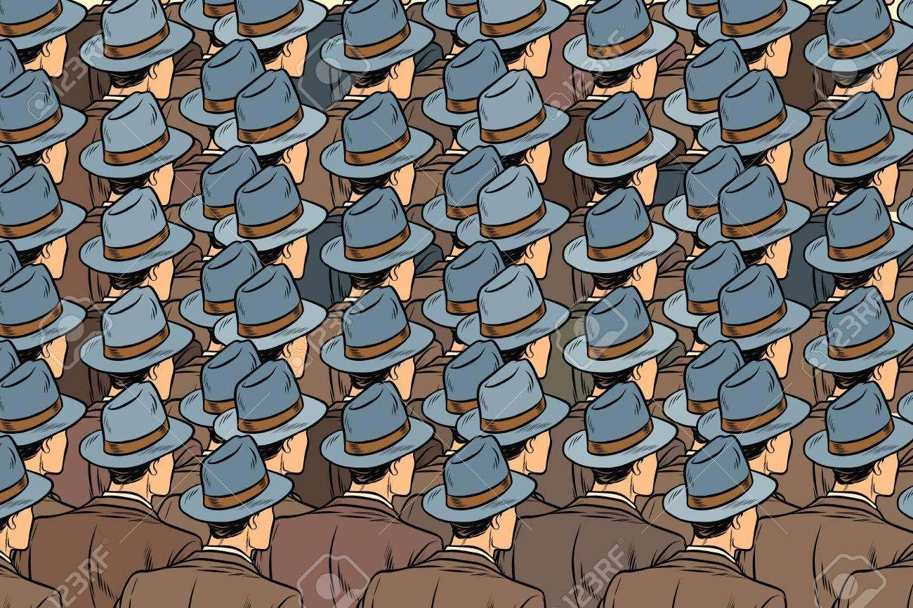 background crowd of the same men, stand back. Pop art retro vector illustration - 81041416