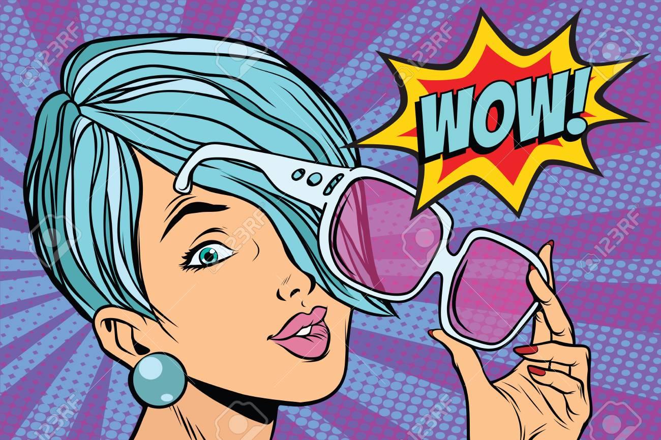 sunglasses pop art woman wow reaction. retro vector illustration - 82285708