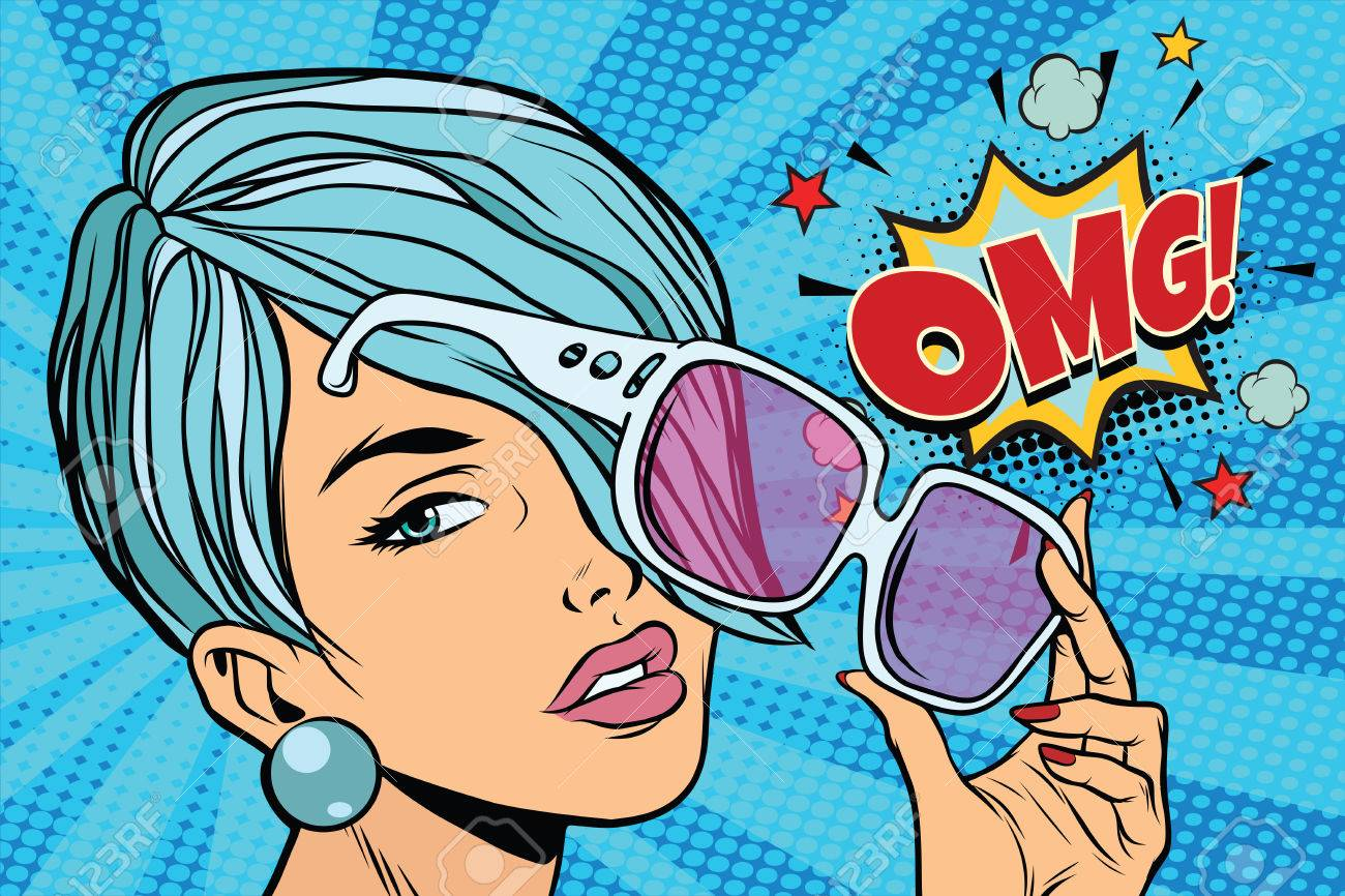 beautiful young woman in sunglasses, omg reaction. Pop art retro vector illustration - 82227387