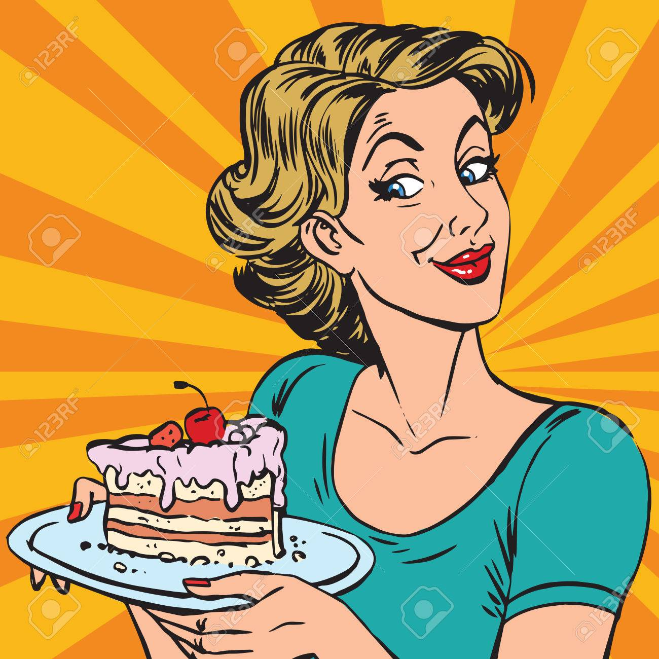 avatar portrait woman with a piece of cake. Pop art retro vector illustration - 83085772