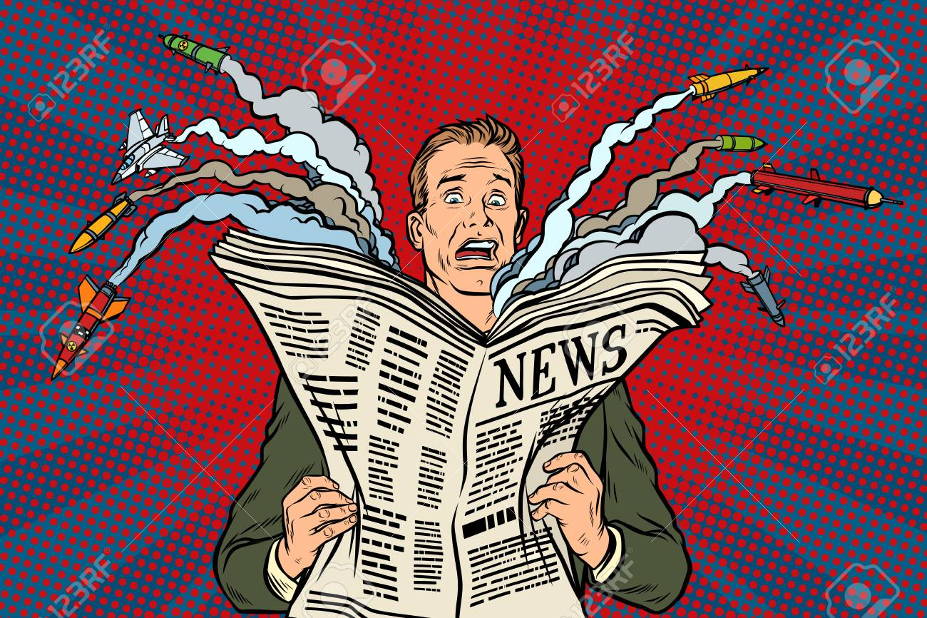 newspaper bad news about nuclear war, the man shocked - 85454635