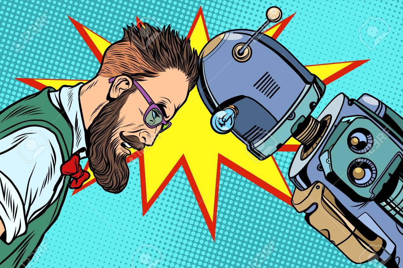 Robot vs human, humanity and technology. Pop art retro vector vintage illustrations - 87250105
