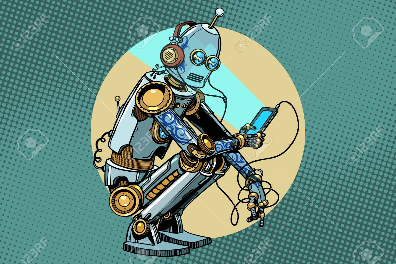 The robot sits and reads smartphone. New technologies, progress. Pop art retro vector vintage illustrations - 87576285