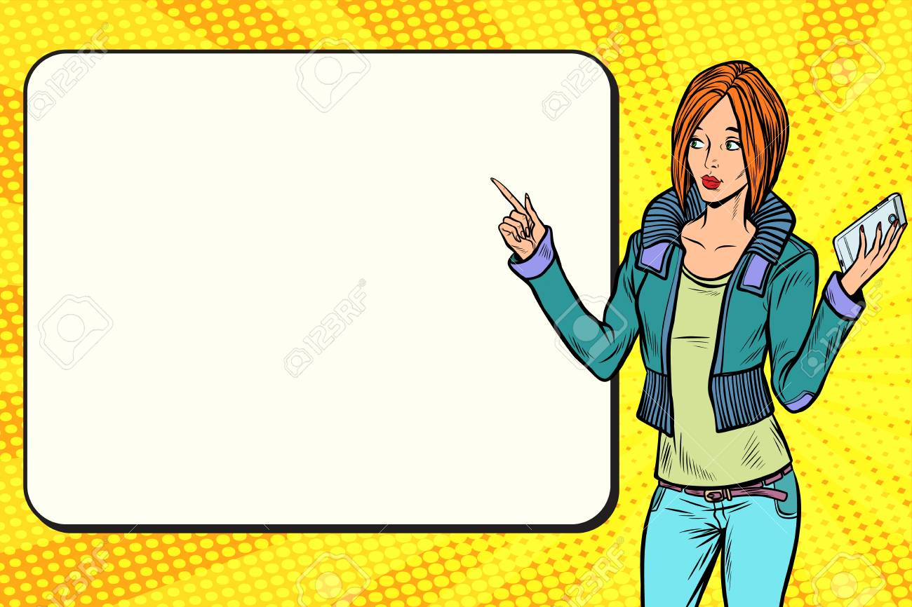 Girl woman with phone on the presentation. Pop art retro vector vintage illustrations - 87917407