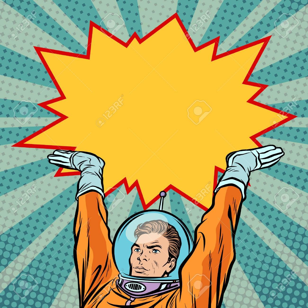 Astronaut holding comic bubble - 89466009