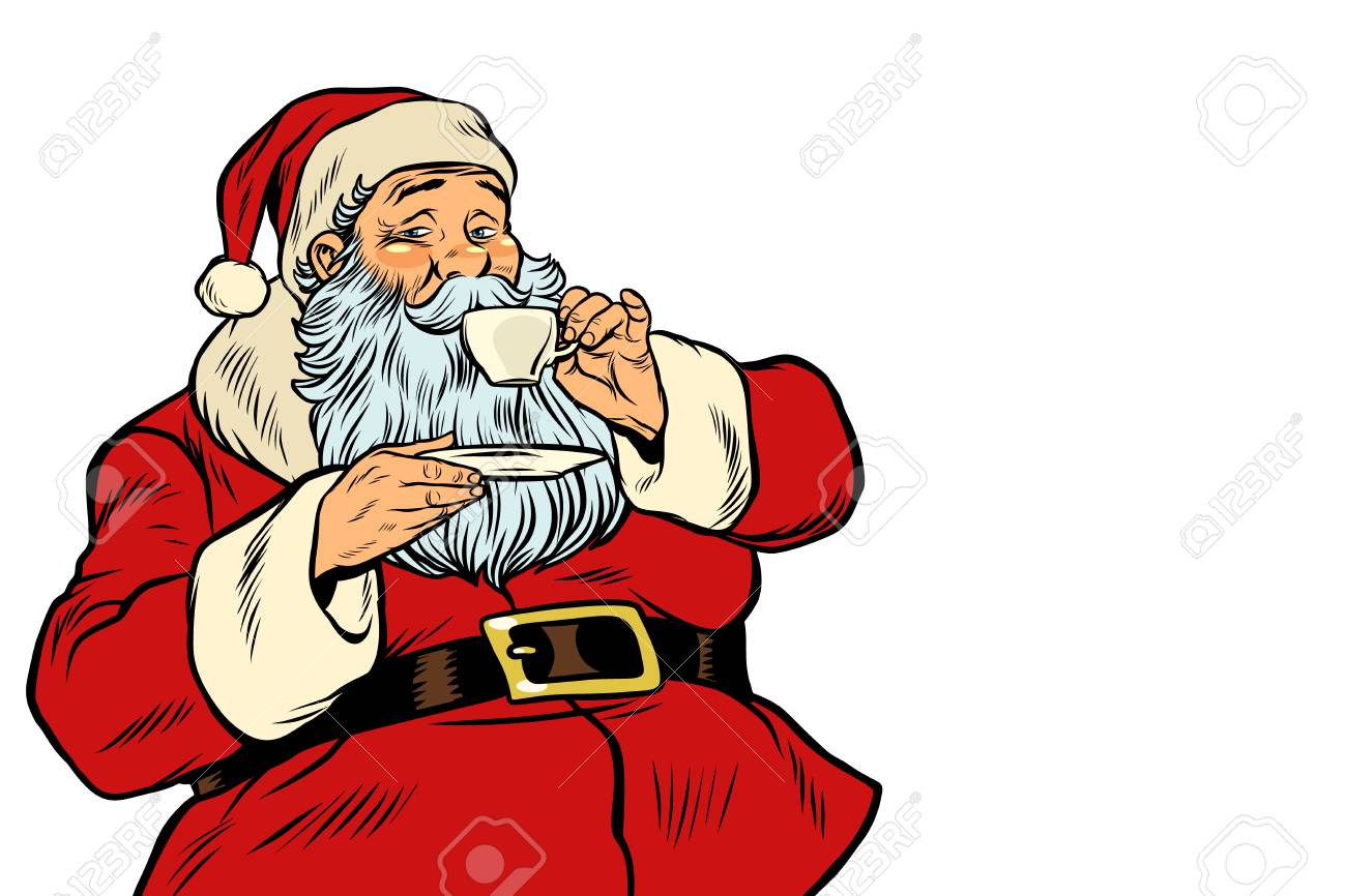 Santa Claus drinking tea or coffee. isolated on white background. Pop art retro vector illustration - 89724267