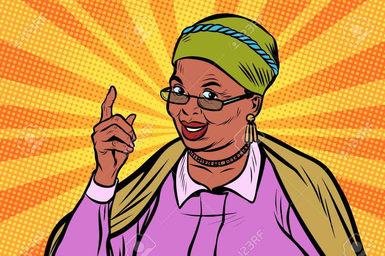 African elderly woman pointing finger up - 90076913