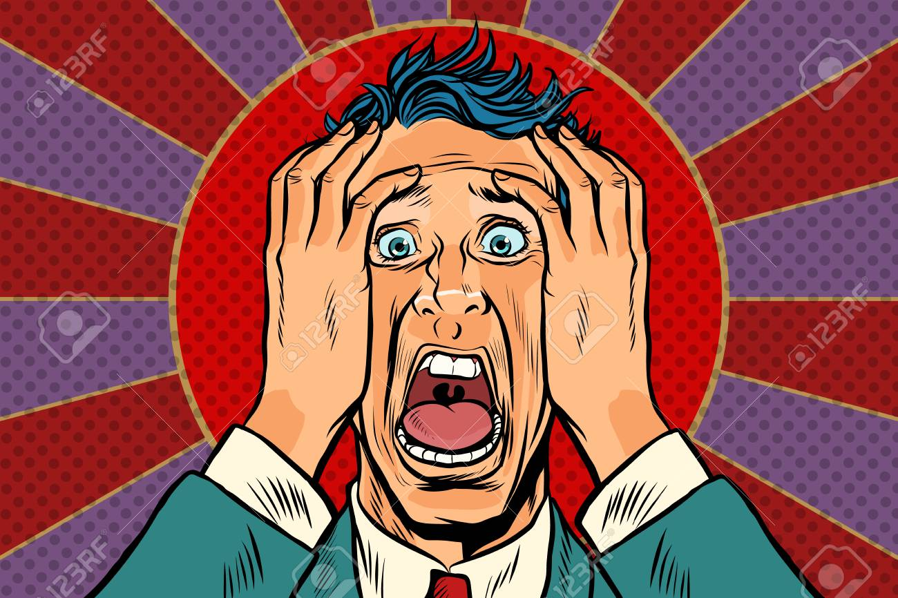 terrified man holding his head, panic face - 90215405