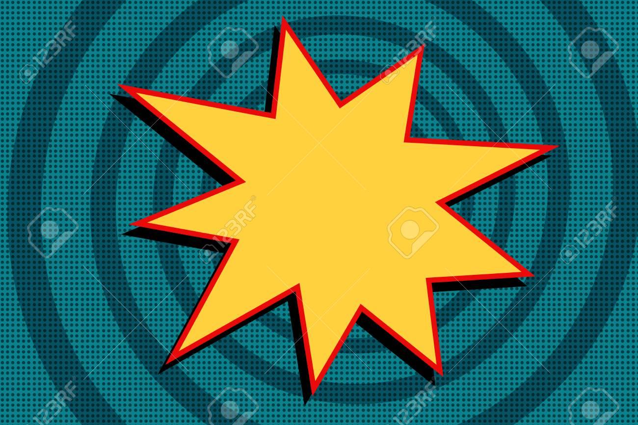 Vettoriale esplosione di cartone animato giallo su sfondo blu. pop