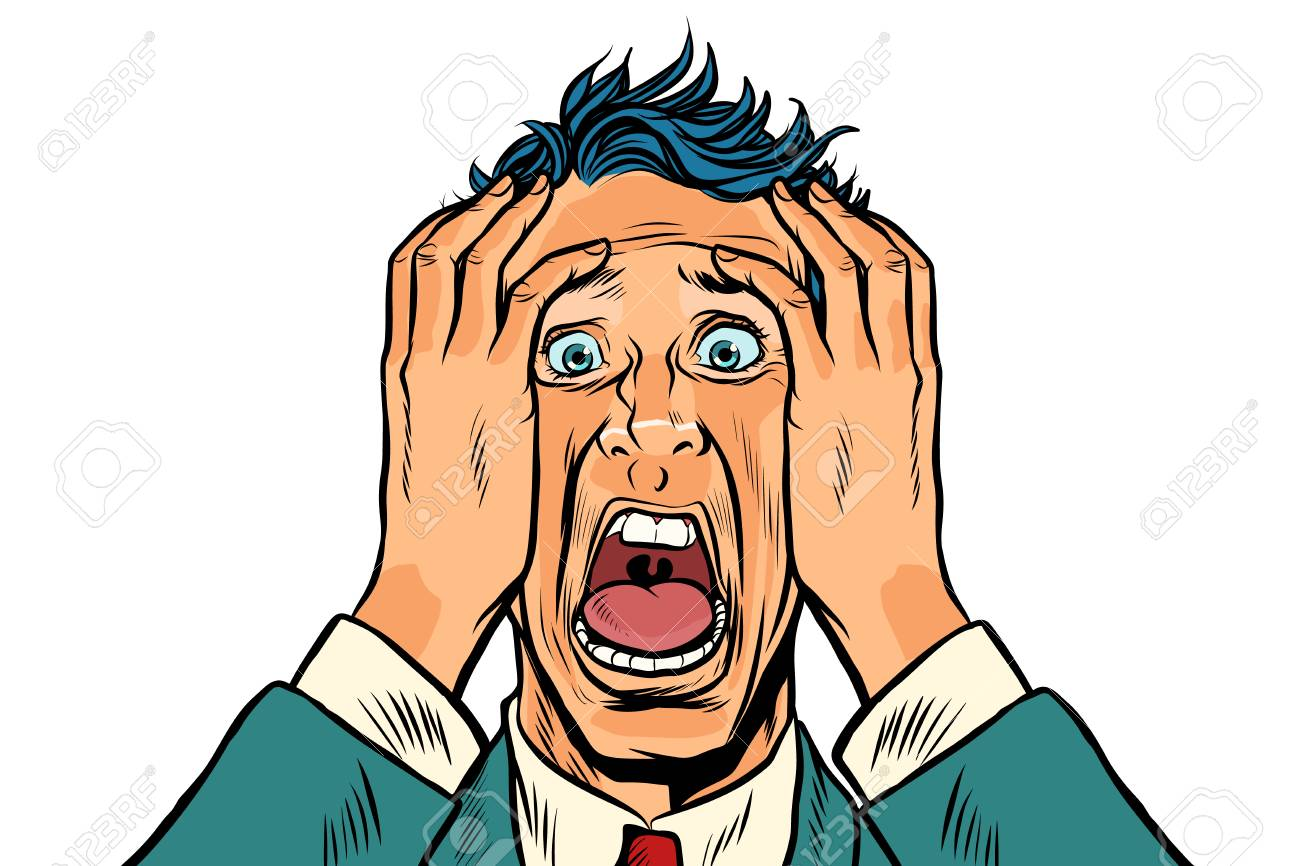 Frightened man two hands on the head, panic face. Pop art retro vector illustration - 92121883