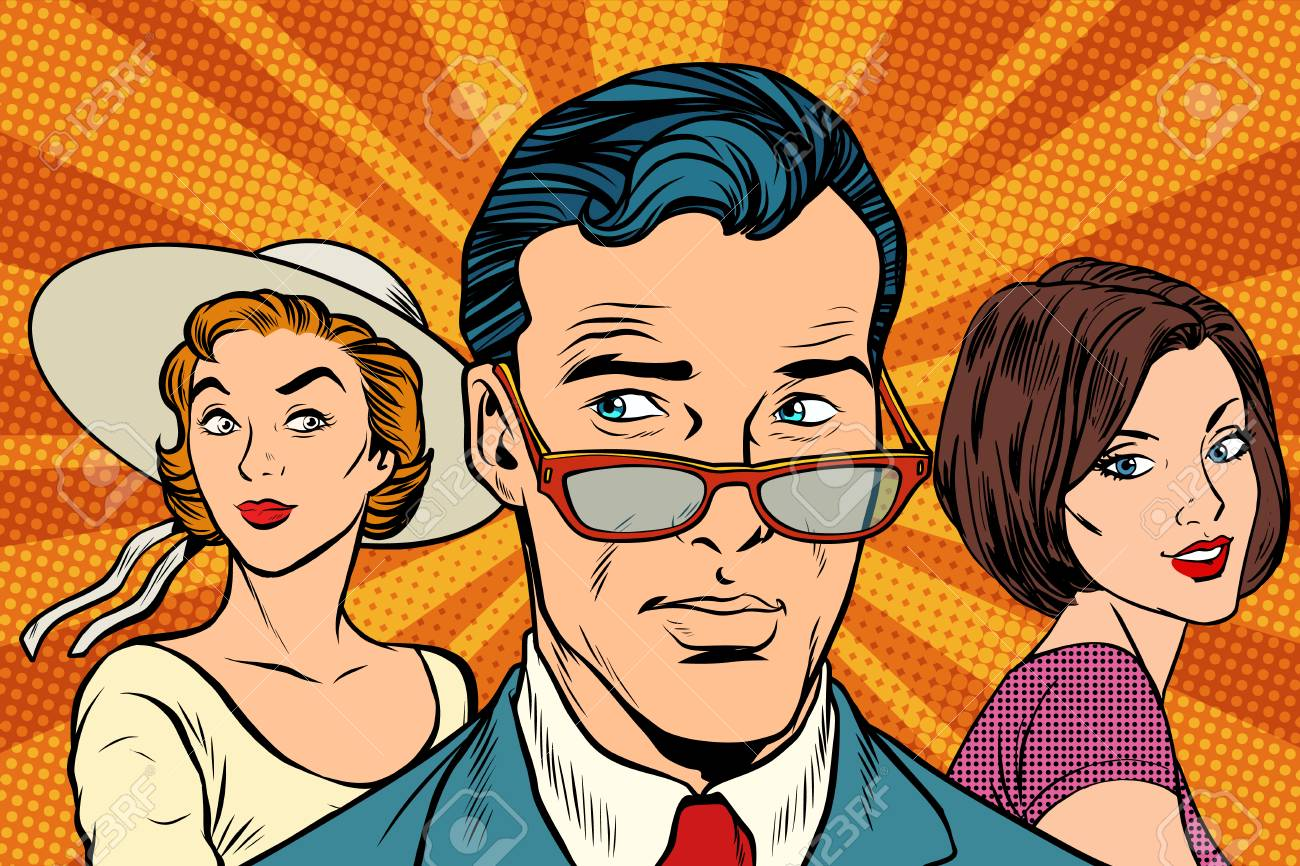 Handsome man choosing between two women. Love and romance. Pop art retro vector illustration - 92121890