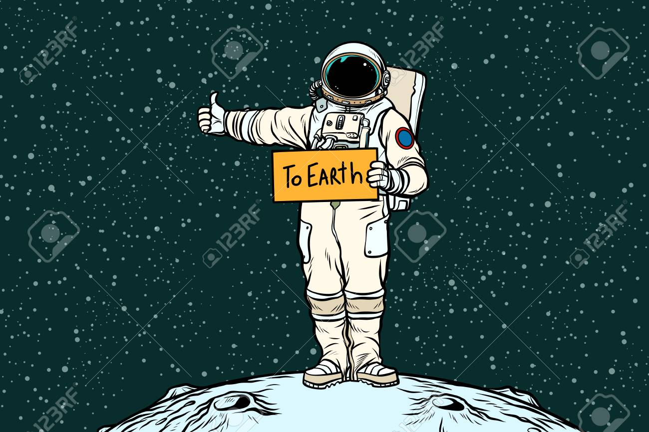 Astronaut hitch rides on Earth - 93264492
