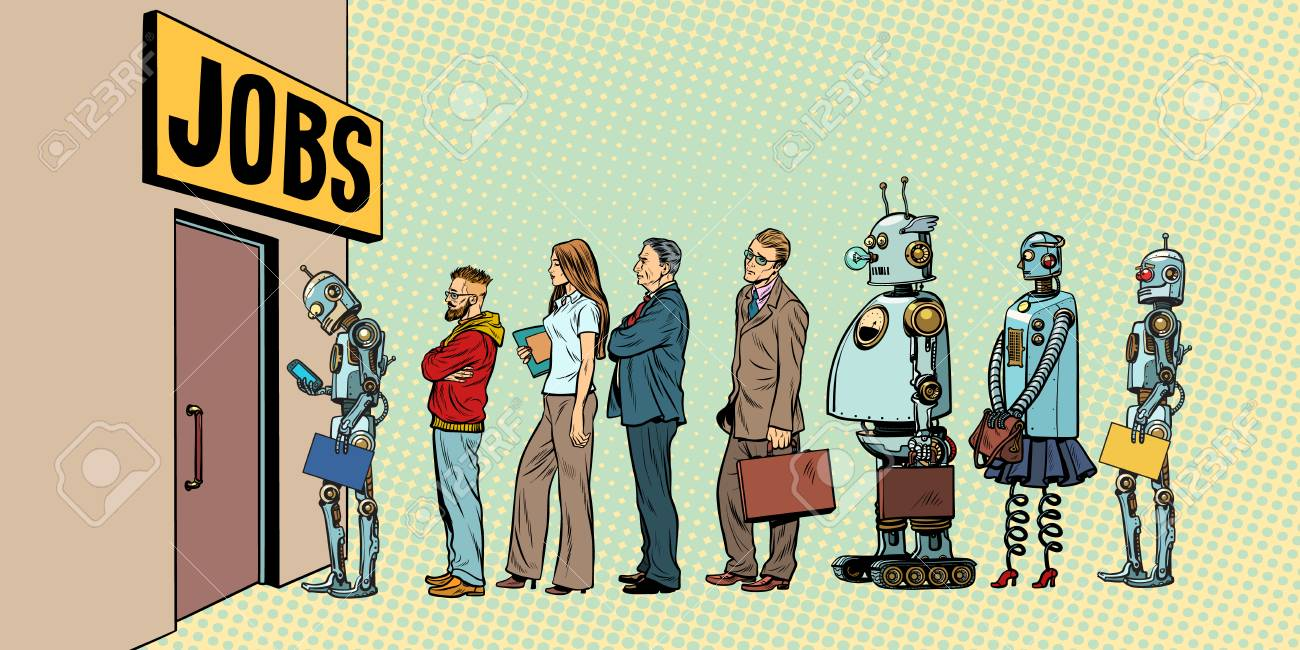 competition of people and robots for jobs. technological revolution. Unemployment in the digital world. Pop art retro vector illustration - 93819129