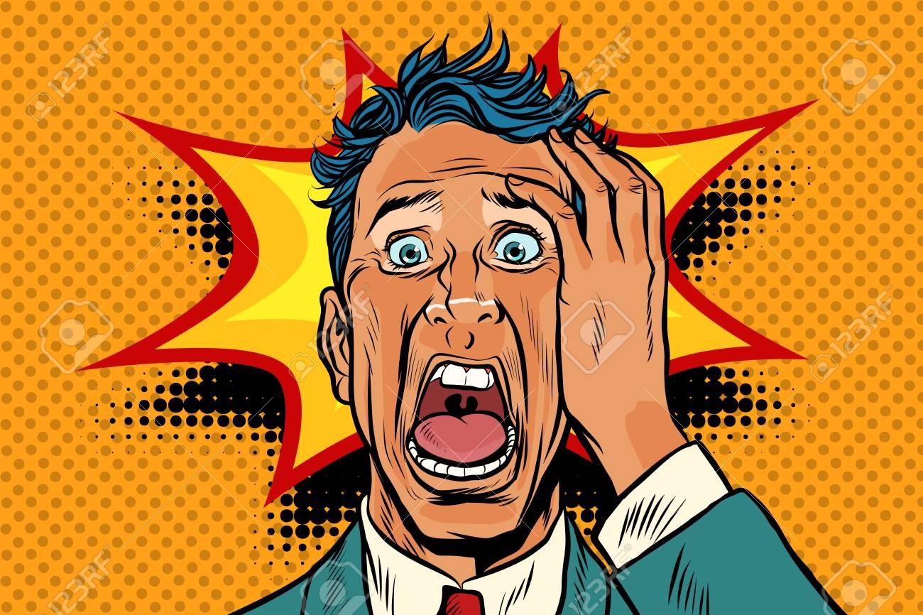 Pop art panic face man funny. Pop art retro vector illustration. - 94288137