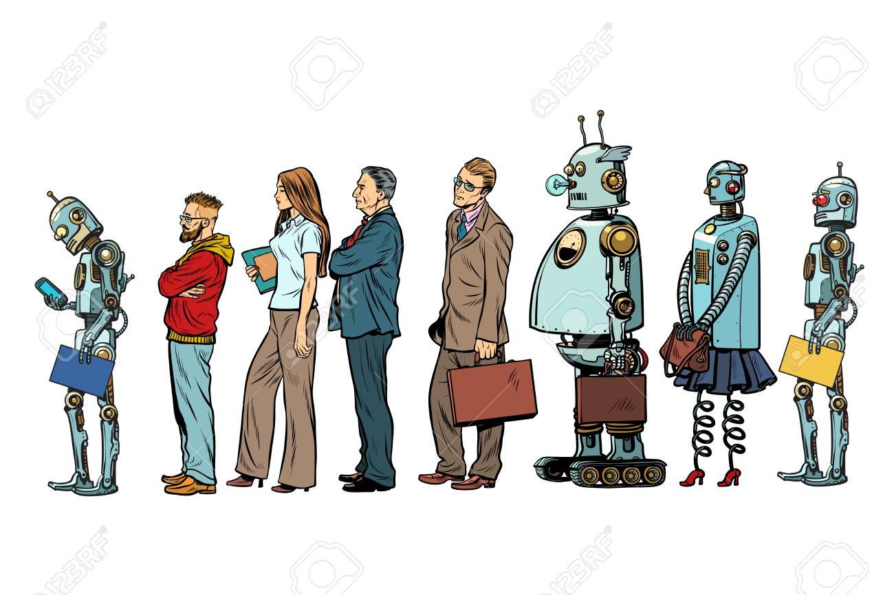 The set of all people. Woman man robot hipster businessman. Pop art retro vector illustration - 94672058