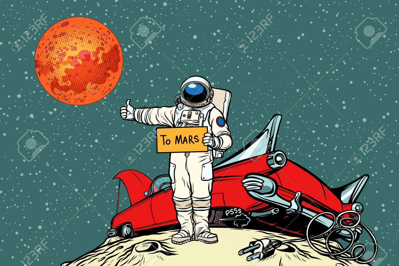 The road to Mars. car broke down in space, astronaut hitchhiker - 95564923