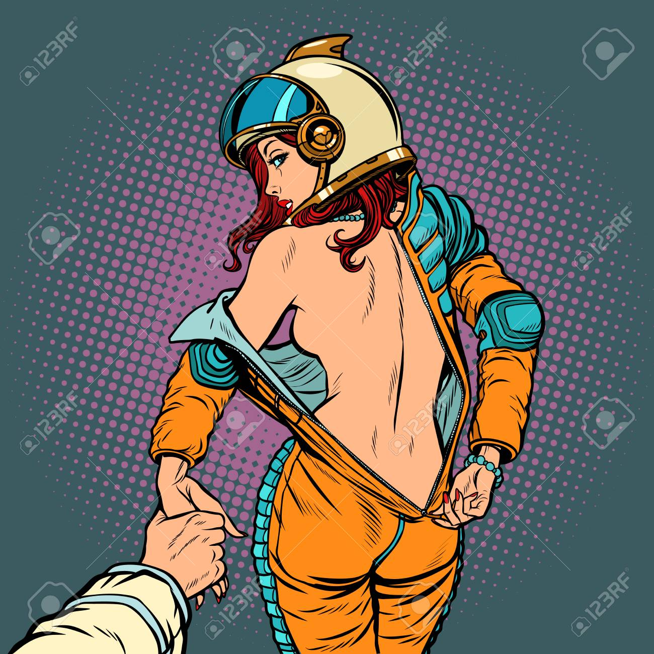 Follow me undresses astronaut woman, couple love and sexy. Pop art retro  comic book