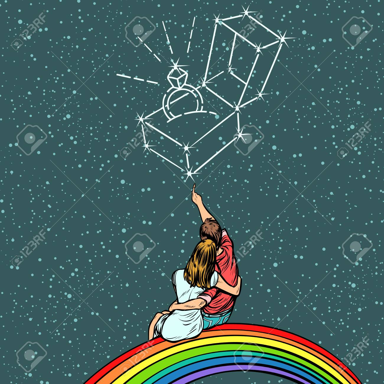 Couple man and woman dreaming of a wedding. Pop art retro comics cartoon vector illustration kitsch drawing - 98561896