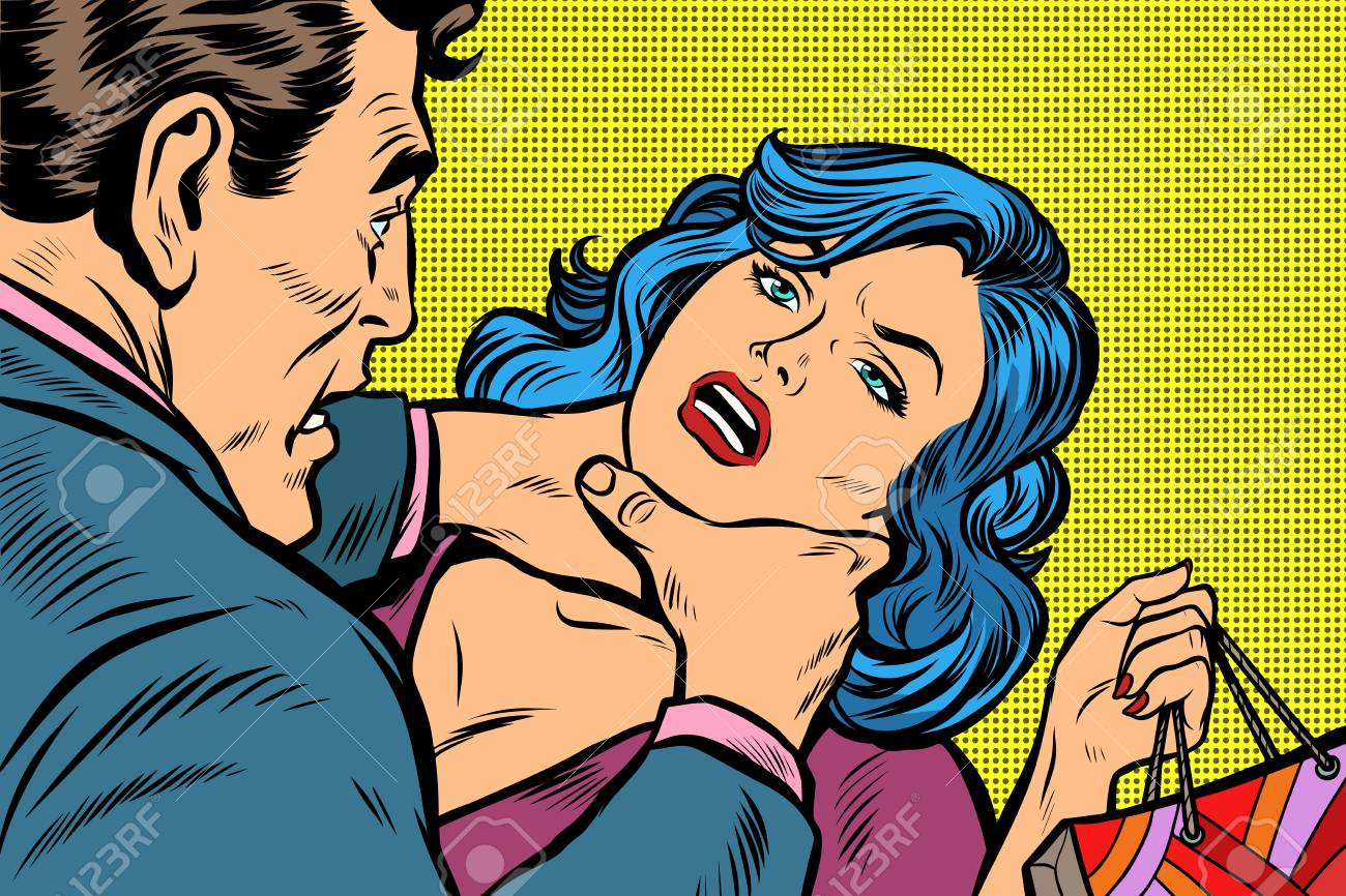 Scandal and domestic violence, a woman came with purchases from the sale. Pop art retro vector illustration kitsch drawing - 98721222