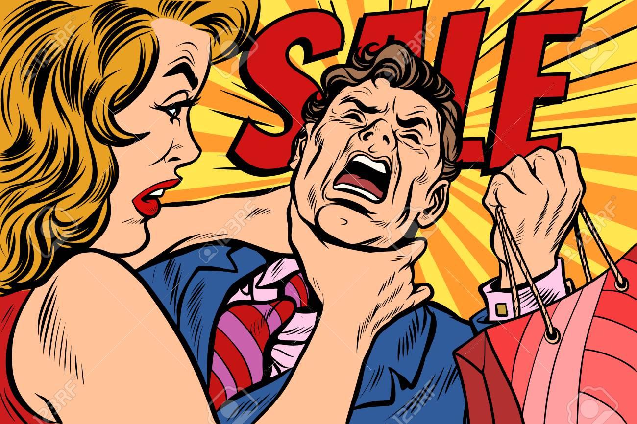 Wife strangles husband, shopping and sales. Pop art retro vector illustration cartoon comics kitsch drawing - 100022131