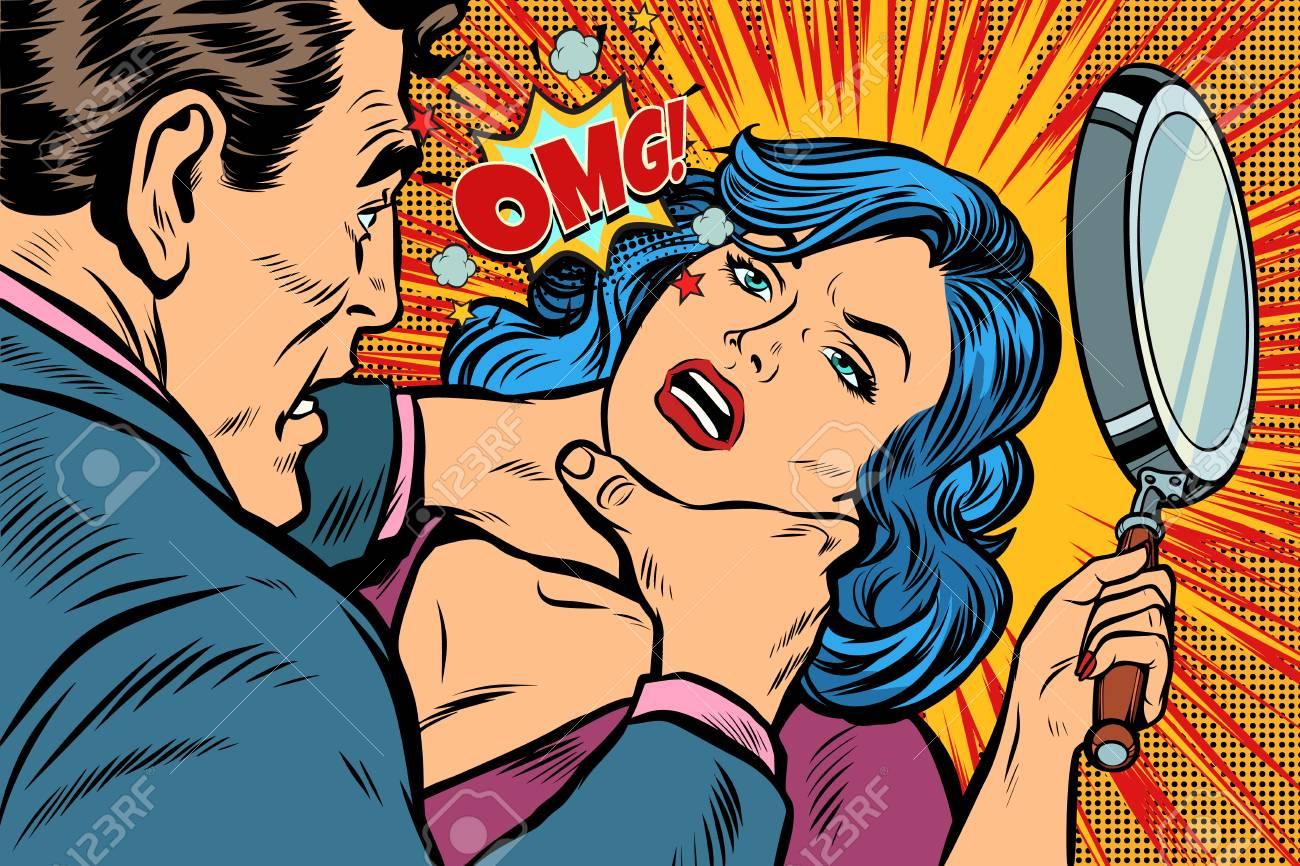 Woman fights off the strangler. Pop art retro vector illustration kitsch drawing. - 100757614