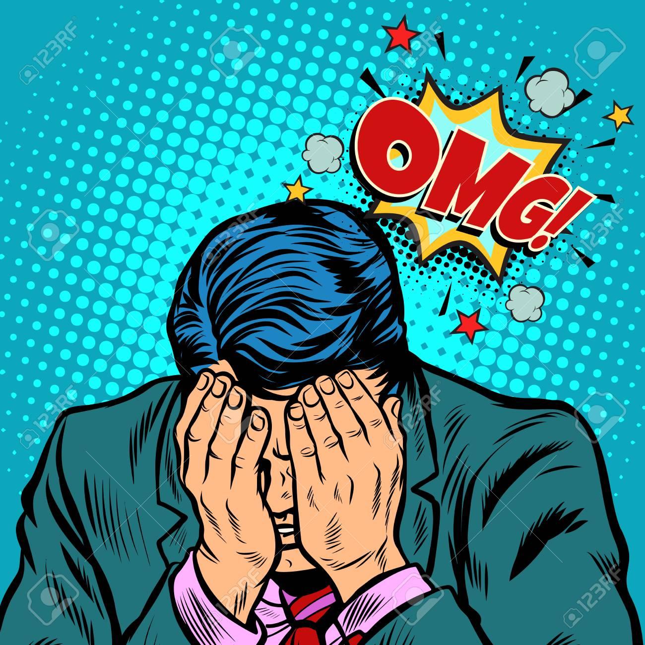 OMG shame businessman. Pop art retro vector illustration cartoon comics kitsch drawing - 101064410