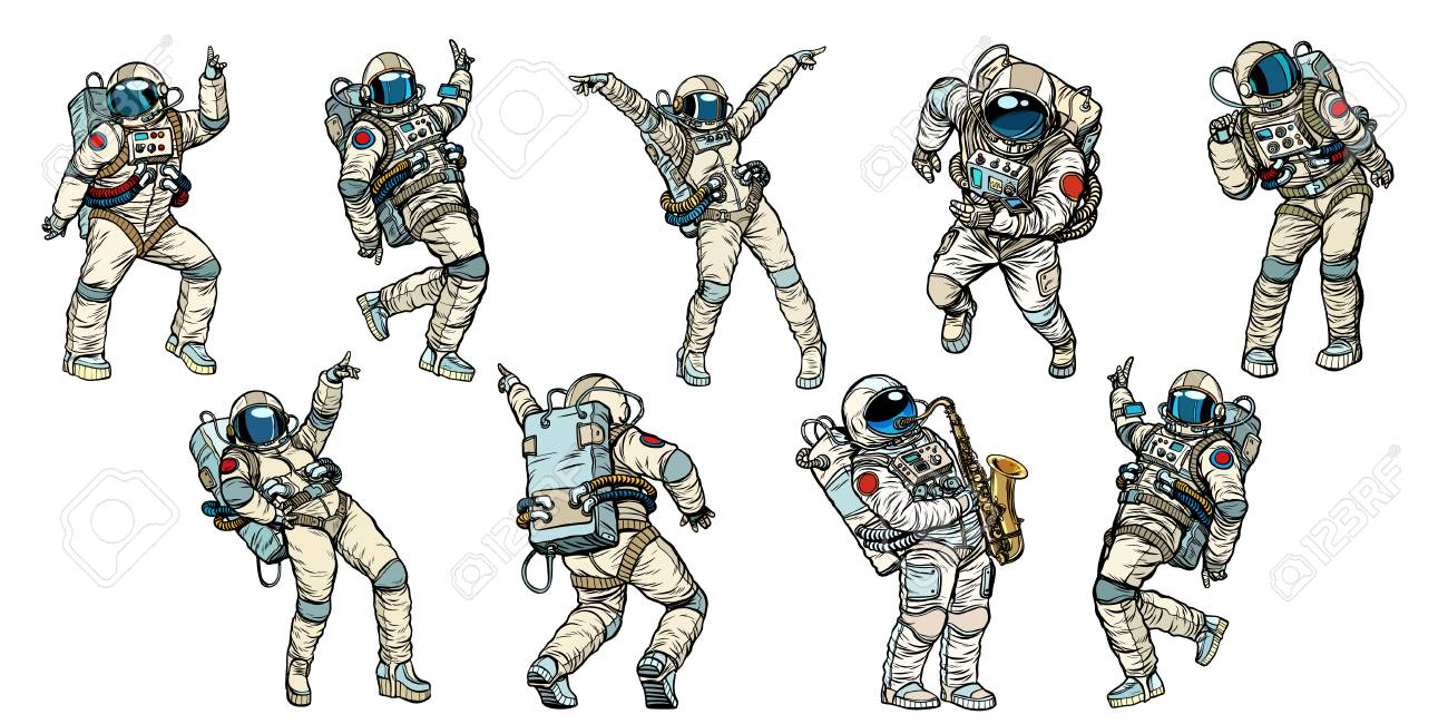 Set of dancing astronauts collection - 102281068