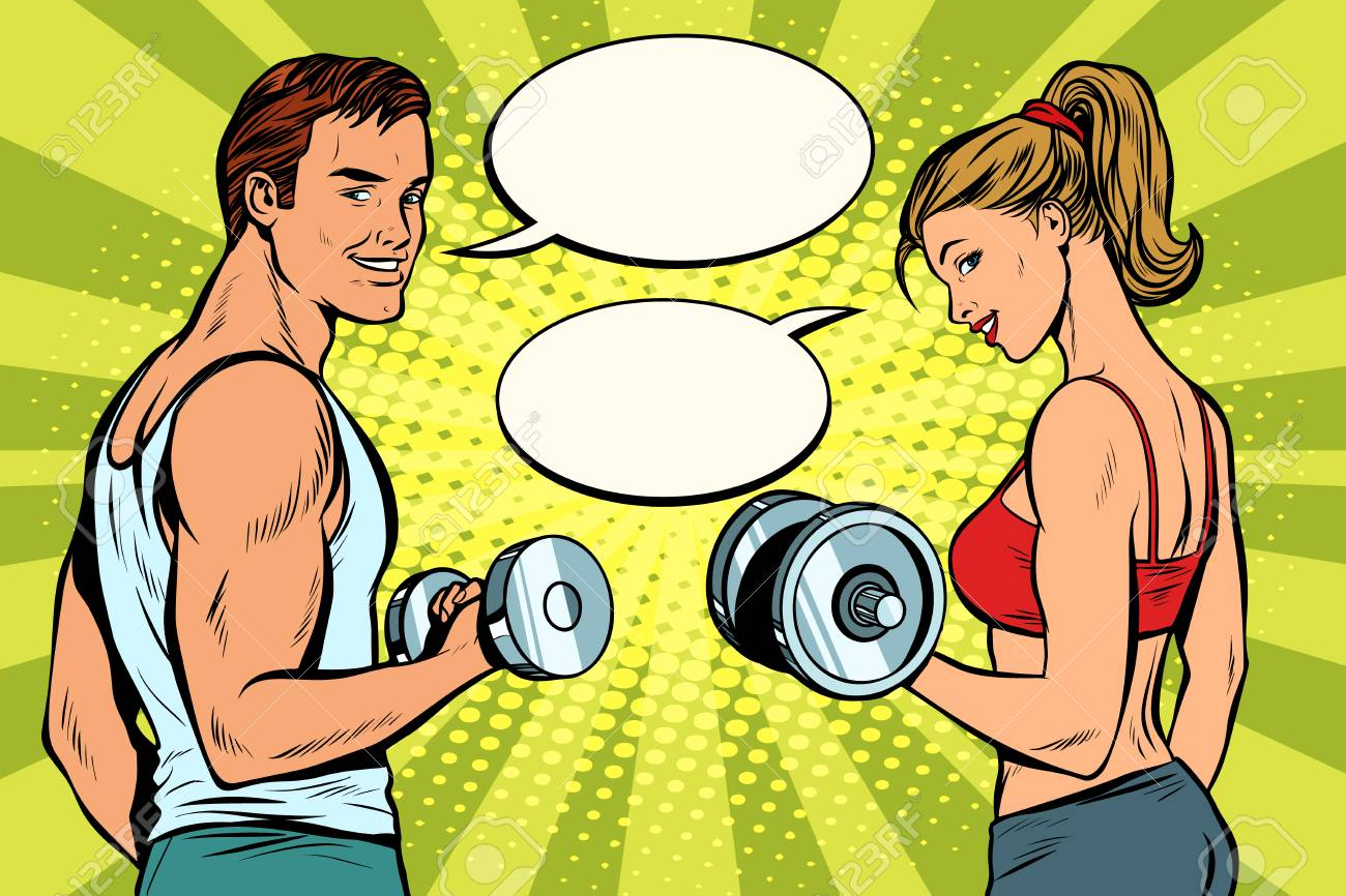 Man and woman in the gym with dumbbells - 102791422