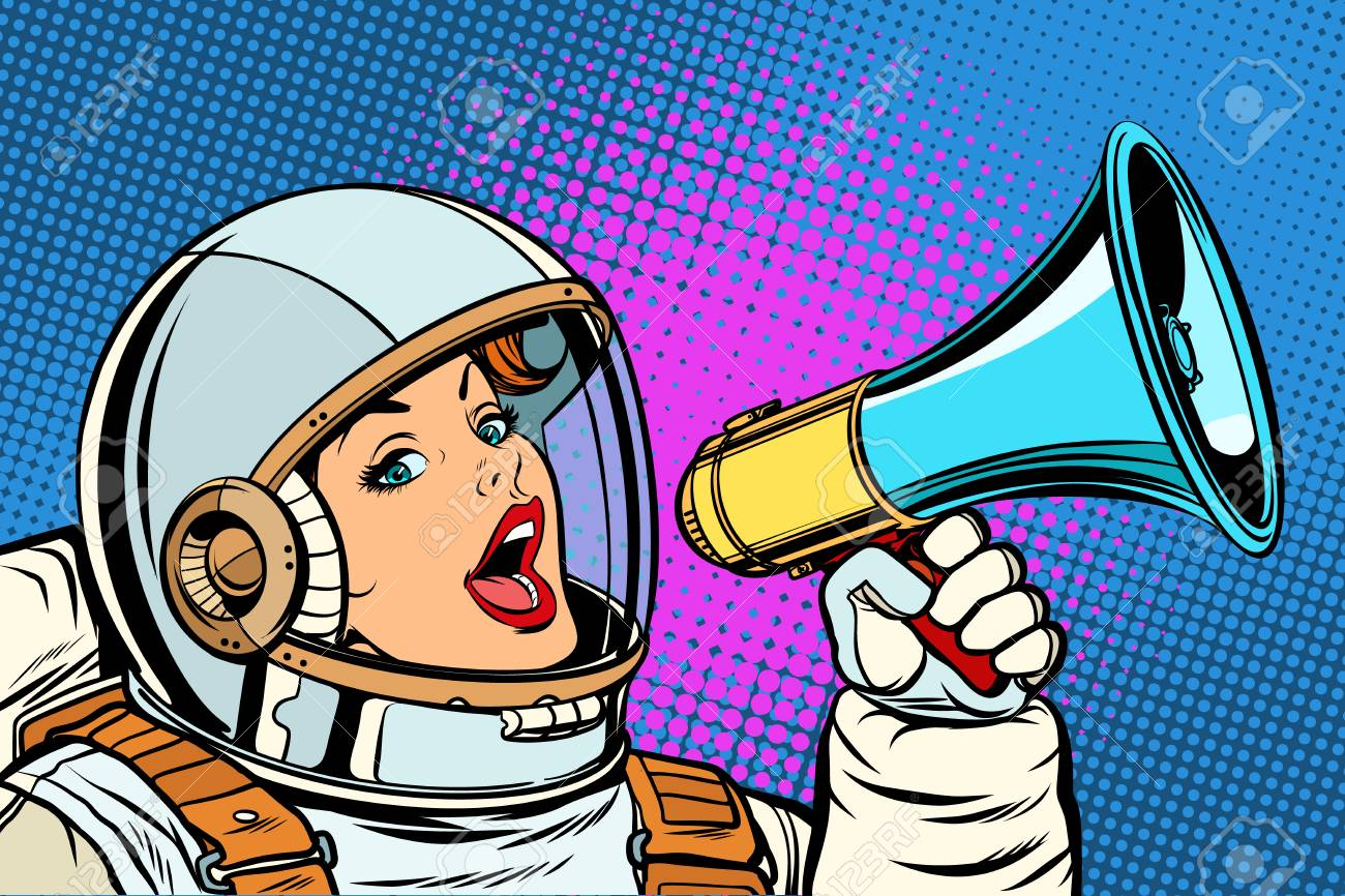 pop art background woman with megaphone - 103637323