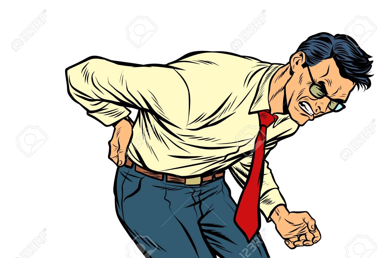 backache low back pain. man health and medicine. Pop art retro vector illustration vintage kitsch drawing - 114776708