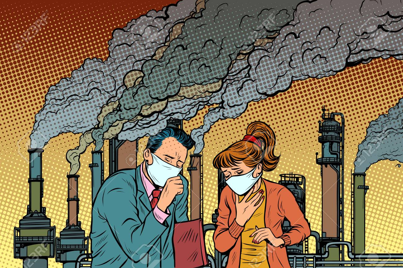 man and woman in a medical mask suffocating from industrial smoke. Ecology and polluted air. Pop art retro vector illustration vintage kitsch drawing - 111905141