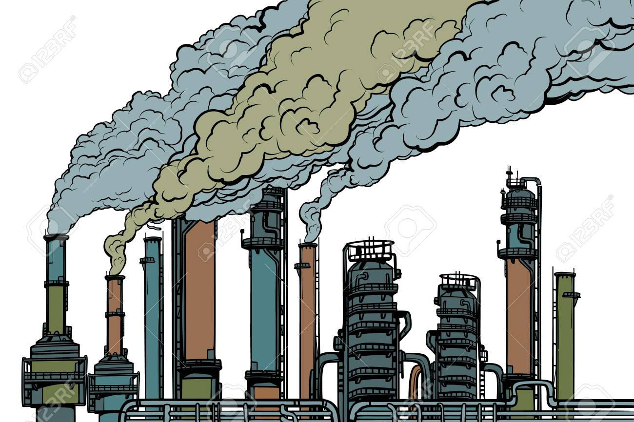 chemical pipe factory smoke. Ecology and industry. Isolated on white background. Pop art retro vector illustration vintage kitsch drawing - 111672435