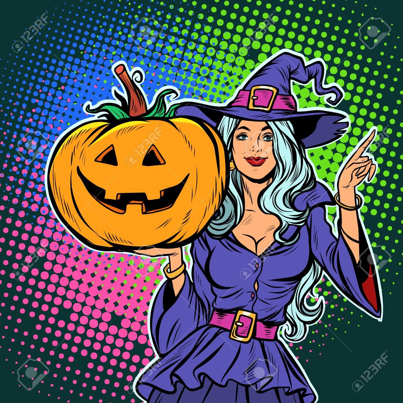 witch with pumpkin. Halloween Party. Pop art retro vector illustration vintage kitsch - 108972895