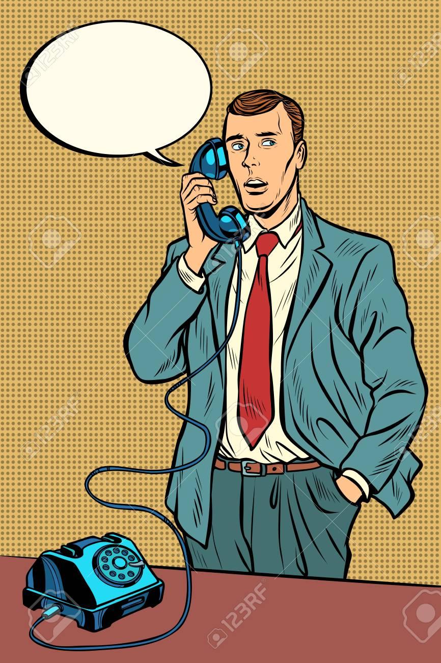 man talking on a retro phone. Pop art retro vector illustration vintage kitsch - 128167720
