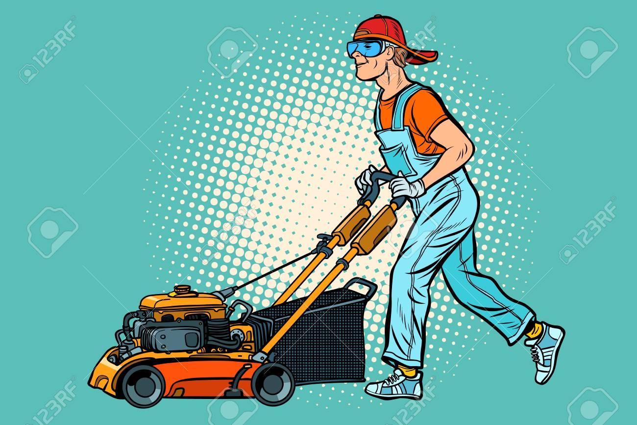 lawn mower worker. Profession and service. Pop art retro vector illustration vintage kitsch - 127472049