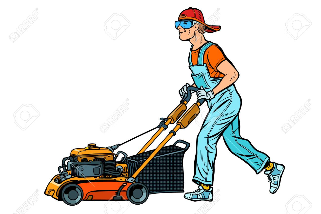 lawn mower worker. Profession and service. Isolate on white background. Pop art retro vector illustration vintage kitsch - 126887532