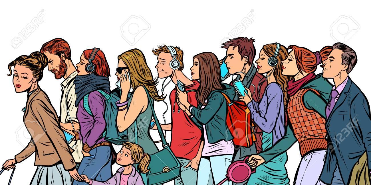 The crowd of pedestrians, men and women. Pop art retro vector illustration kitsch vintage - 126416012