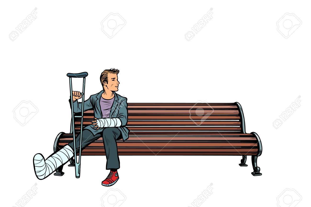 man broken leg park bench. Pop art retro vector illustration kitsch vintage - 125973925
